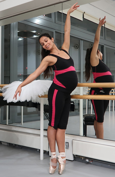 pregnant ballet dancer Tara in high support pregnancy maternity fitness clothes and sportswear